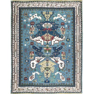 One-of-a-Kind Sumack Hand-Woven Wool Blue/Ivory Area Rug
