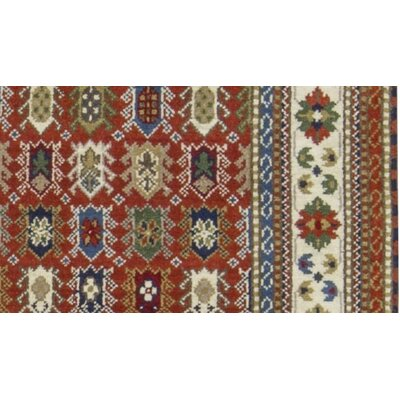 One-of-a-Kind Indo Hand-Woven Wool Rust/Cream Area Rug