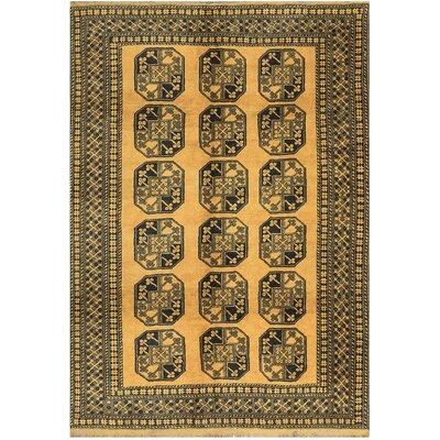 One-of-a-Kind Hand-Woven Wool Gold/Black Area Rug