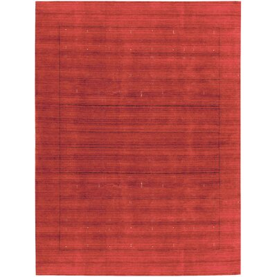 One-of-a-Kind Gabbeh Hand-Woven Wool Red Area Rug