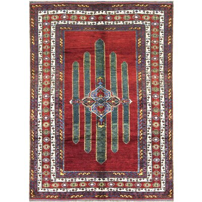 One-of-a-Kind Shirvan Hand-Woven Wool Red/Blue Area Rug