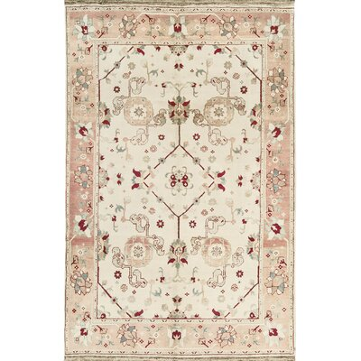 One-of-a-Kind Hand-Woven Wool Beige/Rose Area Rug