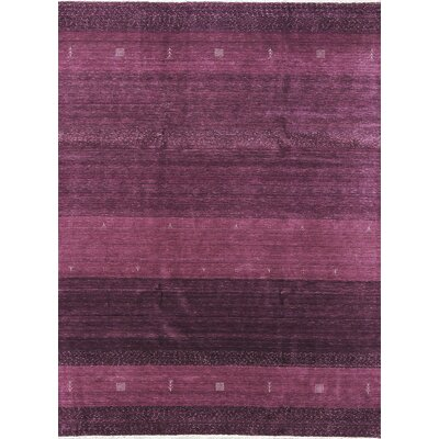 One-of-a-Kind Gabbeh Hand-Woven Wool Lilac Area Rug