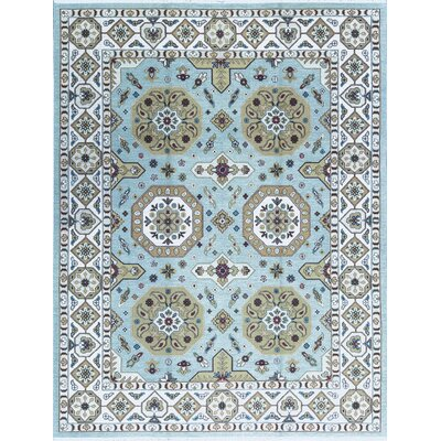 One-of-a-Kind Sumak Hand-Woven Wool Light Blue/Beige Area Rug