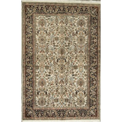 One-of-a-Kind Hand-Woven Wool Beige/Black Area Rug