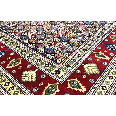 One-of-a-Kind Indo Hand-Woven Wool Blue/Red Area Rug