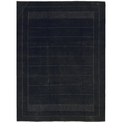 One-of-a-Kind Gabbeh Hand-Woven Wool Dark Gray Area Rug