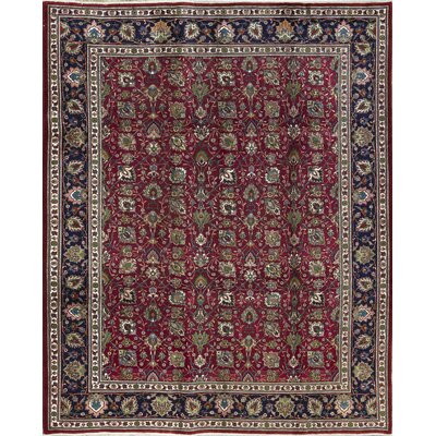 One-of-a-Kind Persian Hand-Woven Wool Wine/Navy Area Rug
