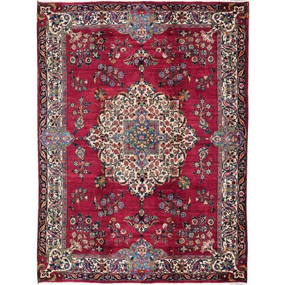 One-of-a-Kind Persian Hand-Woven Wool Wine Red/Ivory Area Rug