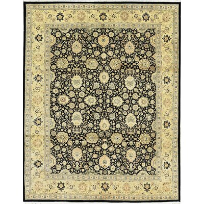 One-of-a-Kind Hand-Woven Worsted Wool Black/Gold Area Rug