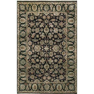 One-of-a-Kind Hand-Woven Wool Black/Green Area Rug