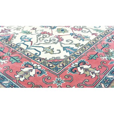 One-of-a-Kind Hand-Woven Wool Ivory/Rose Area Rug