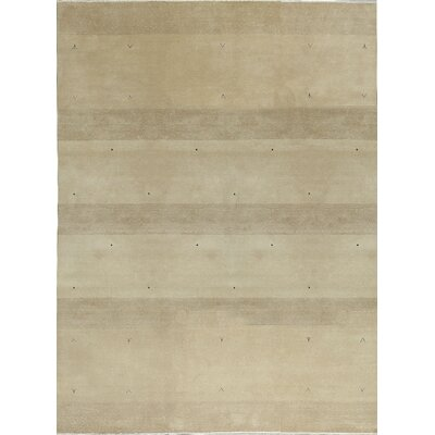 One-of-a-Kind Gabbeh Hand-Woven Wool Beige/Camel Area Rug