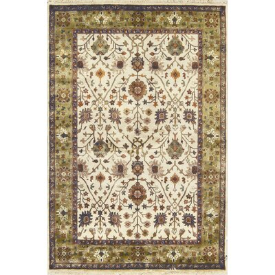 One-of-a-Kind Crown Hand-Woven Wool Beige/Gold Area Rug