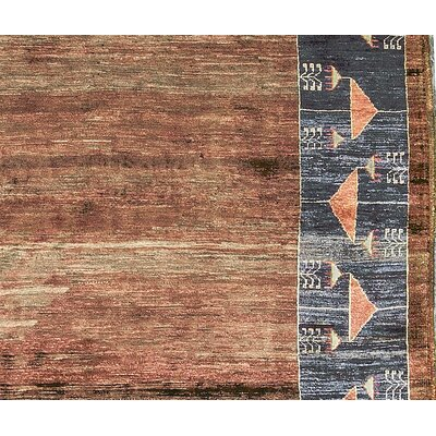 One-of-a-Kind Hand-Woven Wool Burnt Orange/Gray Area Rug