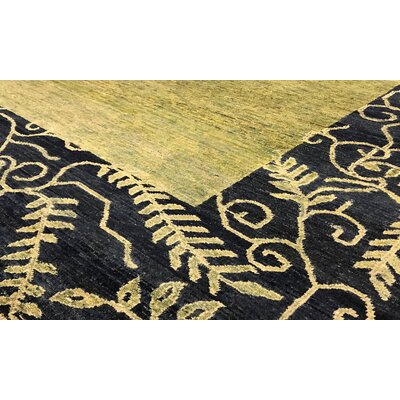 One-of-a-Kind Zarbof Hand-Woven Wool Green/Black Area Rug