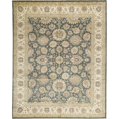 One-of-a-Kind Hand-Woven Wool Green/Beige Area Rug