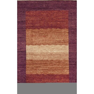 One-of-a-Kind Gabbeh Hand-Woven Wool Purple/Burnt Orange Area Rug