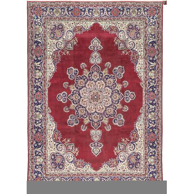 One-of-a-Kind Hand-Woven Wool Red/Navy Area Rug