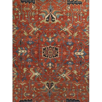 One-of-a-Kind Antique Persian Heriz Circa Hand-Woven Wool Red/Blue Area Rug 536593