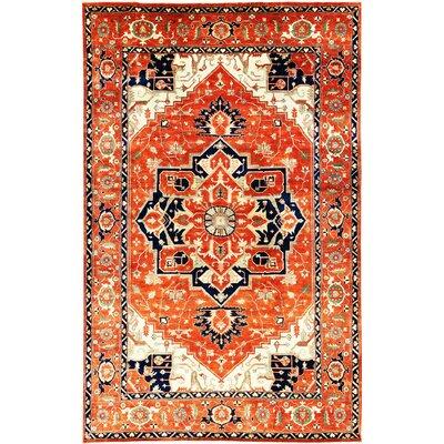 One-of-a-Kind Heriz Serapi Hand-Woven Wool Rust Area Rug 577978