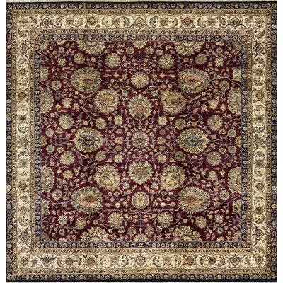 One-of-a-kind Hand-knotted Wool Wine/cream Indoor Area Rug