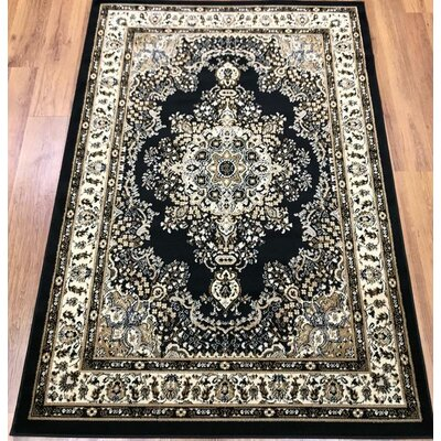 Marenco Oriental Black/Beige Area Rug Rug Size: Rectangle 5 x 7
