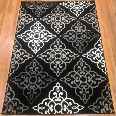 Ontonagon Trellis Black/Gray Area Rug Rug Size: Rectangle 5 x 7