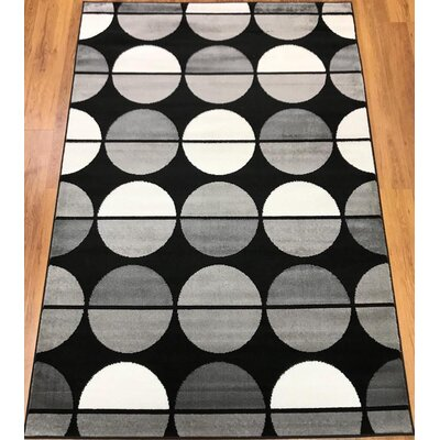 Stremme Geometric Black/Gray Area Rug Rug Size: Runner 23 x 8