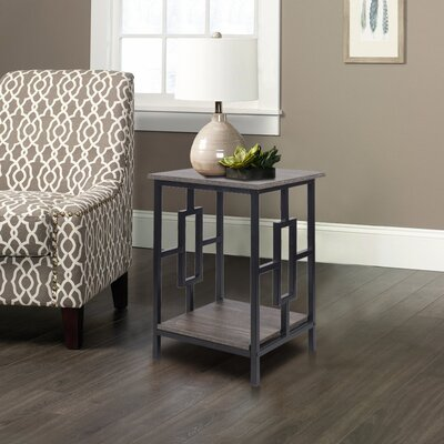 Baksh Side End Table Table Top Color: Antique Wood, Table Base Color: Black
