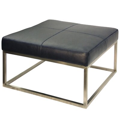 Amy Genuine Leather Ottoman Upholstery: Navy Blue