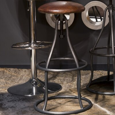 Calisto Adjustable Height Swivel Bar Stool Upholstery: Brown