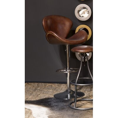Casimiro Adjustable Height Swivel Bar Stool Upholstery: Brown