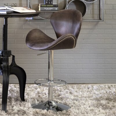Casimiro Adjustable Height Swivel Bar Stool Upholstery: Antique Ebony