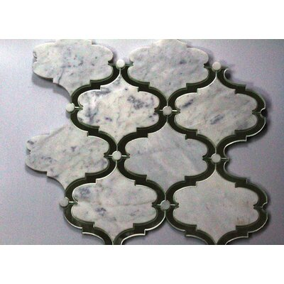 Water Jet Carrara Marble and Mirror Glass Mosaic Tile in White