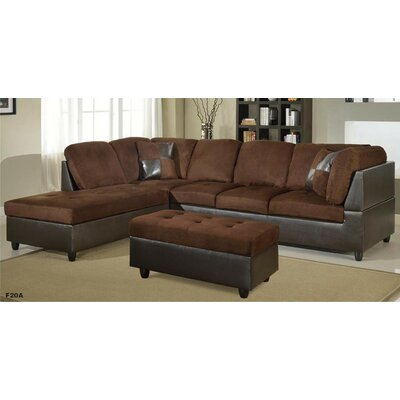 Favela Sectional with Ottoman Orientation: Left Hand Facing, Upholstery: Brown
