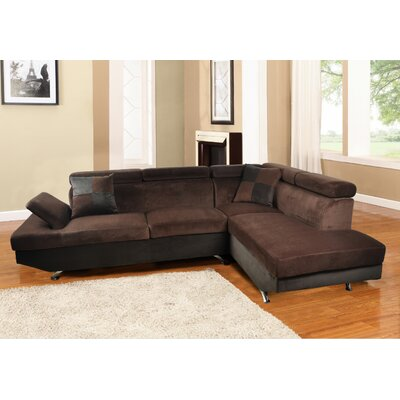 Sarkis Corner Sectional Orientation: Right Hand Facing, Upholstery: Brown