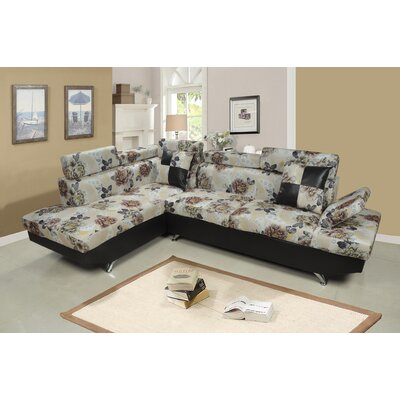 Sarkis Corner Sectional Orientation: Left Hand Facing, Upholstery: Floral