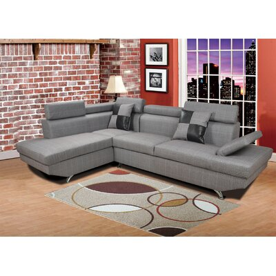 Sarkis Corner Sectional Orientation: Left Hand Facing, Upholstery: Dark Gray