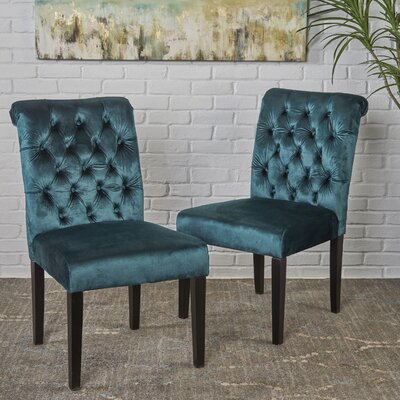 Lyra Tufted Upholstered Dining Chair Color: Teal Green