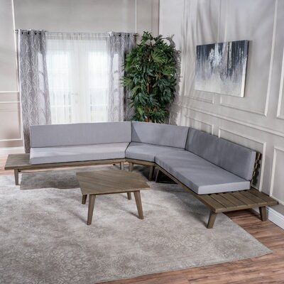 Bynum Modular Sectional with Ottoman Upholstery: Gray