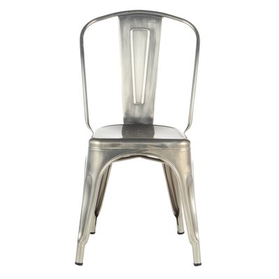 Industrial Metal Side Chair Stackable Finish: Silver Metal