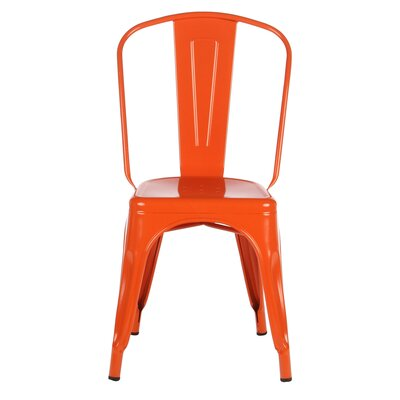 Industrial Metal Side Chair Stackable Finish: Orange