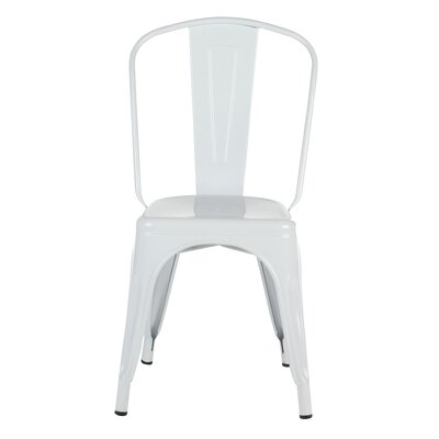 Industrial Metal Side Chair Stackable Finish: White