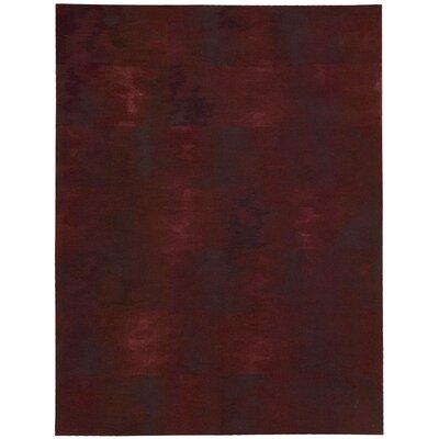 Reflective Hand-Woven Brushstroke Garnet Area Rug