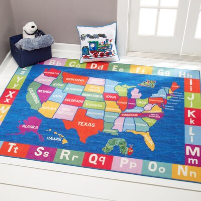 US Map with Alphabet Educational Blue Area Rug Rug Size: Rectangle 411 x 66