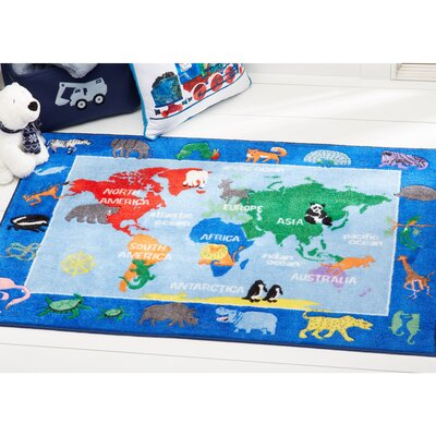 World Map Educational Blue Area Rug Rug Size: Rectangle 411 x 66