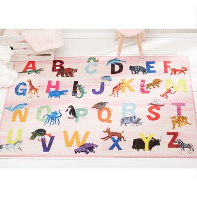 Alphabet Zoo Educational Pink Area Rug Rug Size: Rectangle 66 x 95