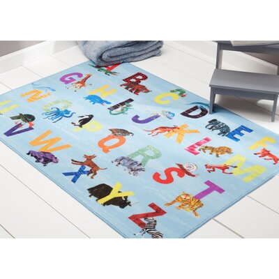 Alphabet Zoo Educational Blue Area Rug Rug Size: Rectangle 411 x 66