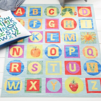 ABCs Educational Blue Area Rug Rug Size: Rectangle 411 x 66